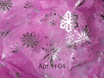 Фатин со снежинками Розовый