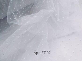 Фатин мягкий в горошек Белый (FT-02)