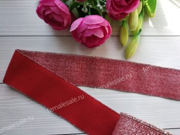 Резинка с люрексом красная
