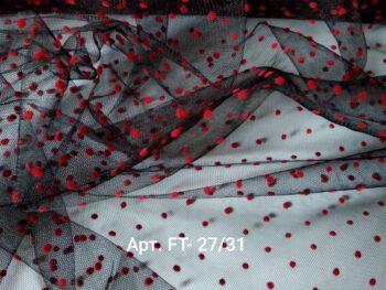 Фатин мягкий Черный в Красный горошек