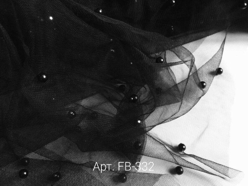 Фатин с бусинами Черный (FB-332)