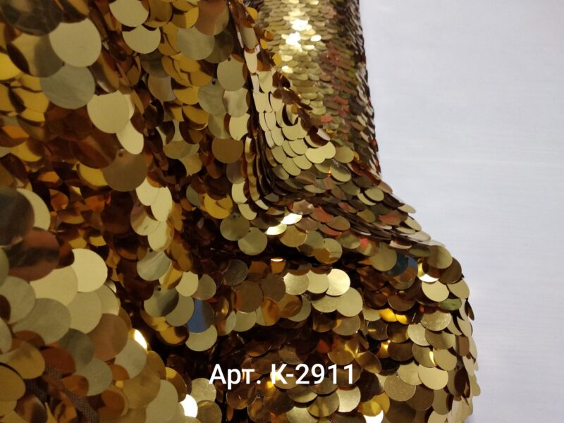 Крупные глянцевые пайетки на сетке Золото (К-2911)
