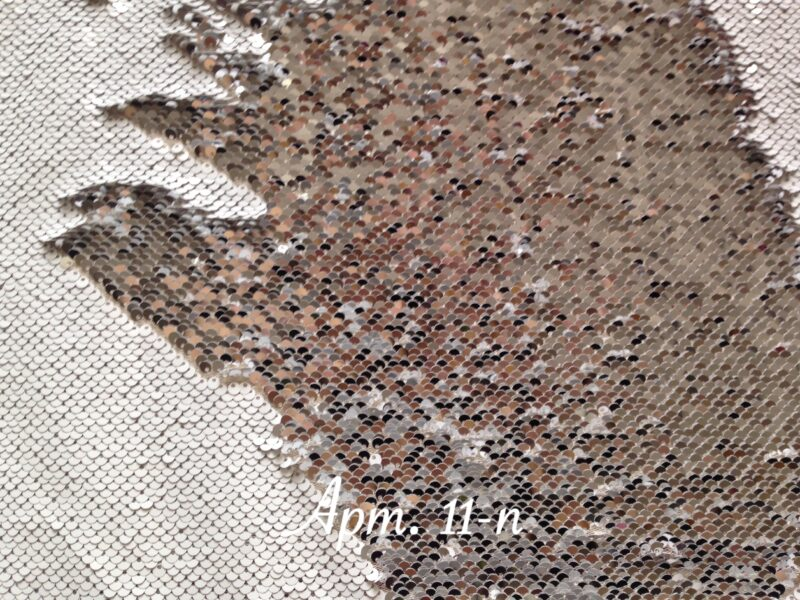 Двусторонние пайетки на сетке Белые/Серебро