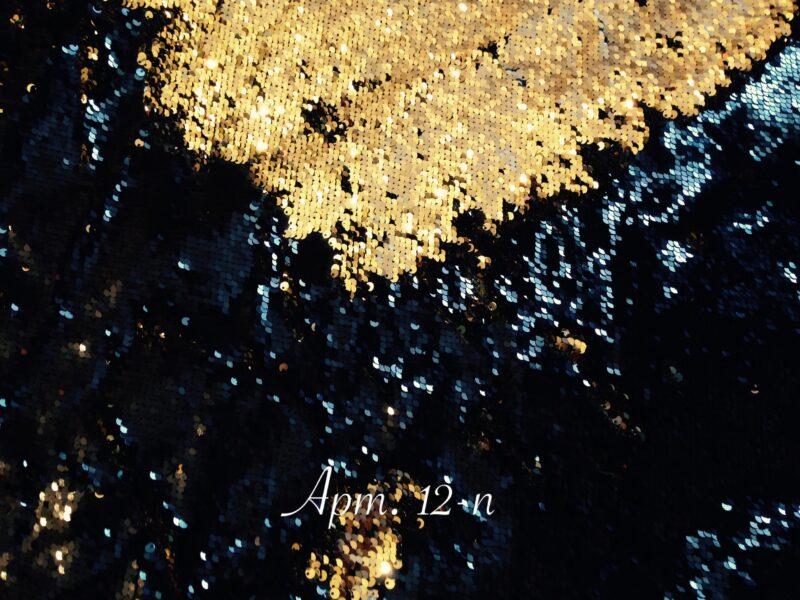 Двусторонние пайетки на сетке Черные/Золото