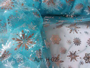 Фатин Fatin мягкий со снежинками, ширина 1,5 м., Голубой