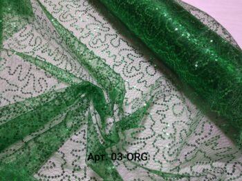 Пайетки на органзе паутинке зеленые