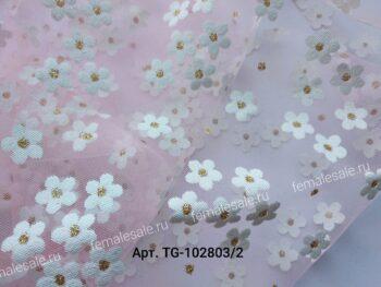 фатин мягкий розовый в цветочки